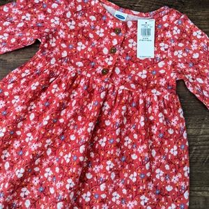 NWT Old Navy Red Floral Henley Dress